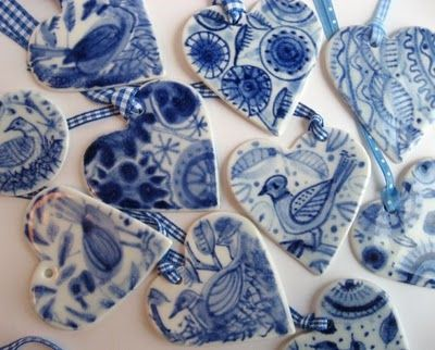 beautiful blue & white, handpainted Delft porcelain ornaments ~ by Harriet Damave
