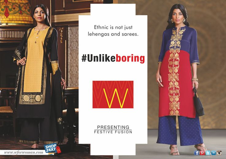 Witness W latest collection redefine and transform ethnic fashion for you. #Unlikeboring #WomensFashion #SayNoToLehengas #Festive #Collection
