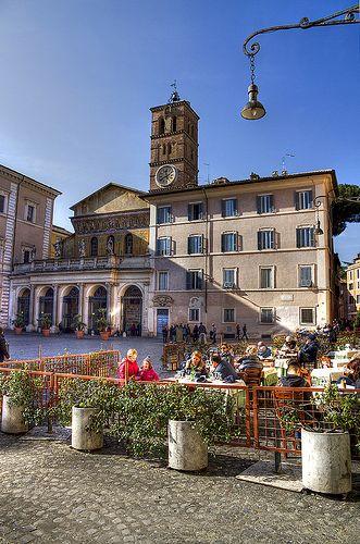 Piazza di Santa Maria in Trastevere, Rome, Italy
