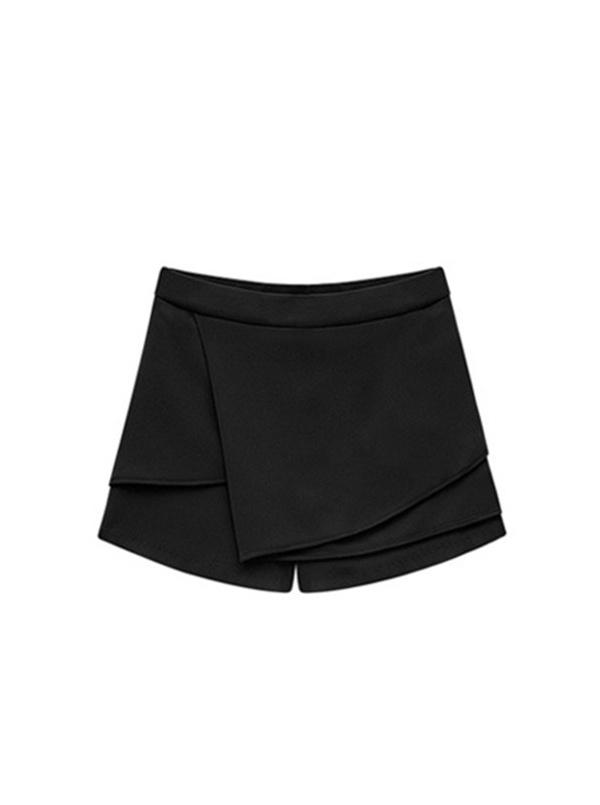 black middle waist package hip short pants -