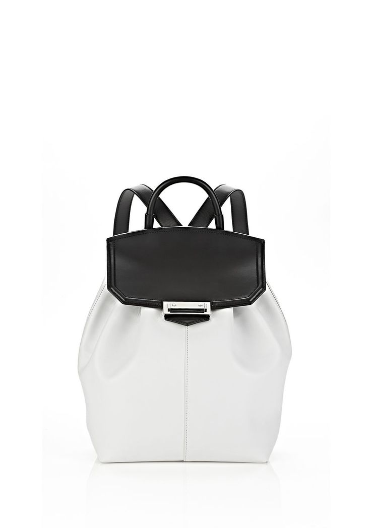PRISMA BACKPACK IN BLACK AND OPTIC WITH RHODIUM - Women Backpacks - Alexander Wang Official Site