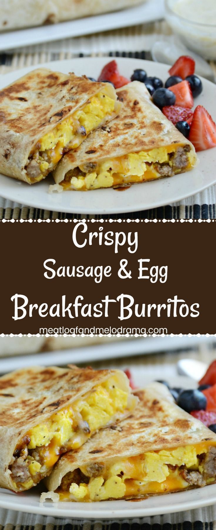 Crispy Sausage and Egg Breakfast Burritos - An easy grab and go breakfast burrito with eggs, sausage and colby jack cheese rolled into a tortilla and browned in a skillet until crisp. Freezer friendly and easy to heat up for a quick breakfast, lunch or di