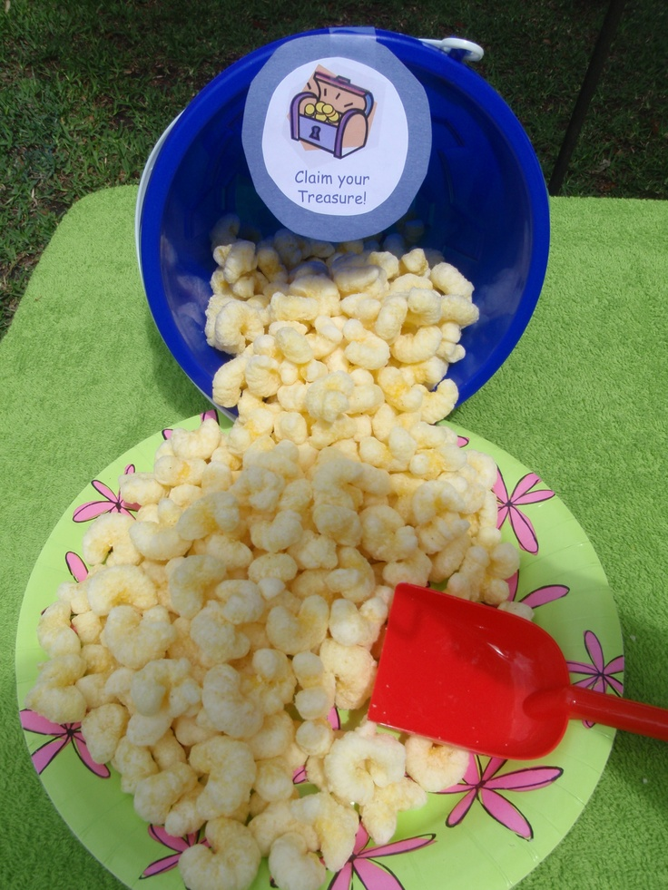 Luau lake party, love the idea to serve the goodies out of buckets & shovels!   I am so gonna do that!