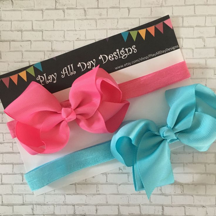 2 Bow Headbands, Boutique Bow, Pink, Blue, Hair Accessories, Baby Headband, Toddler, Comfortable Headband, Hairbow, Photo Prop, Bow, Girls by PlayAllDayDesigns on Etsy