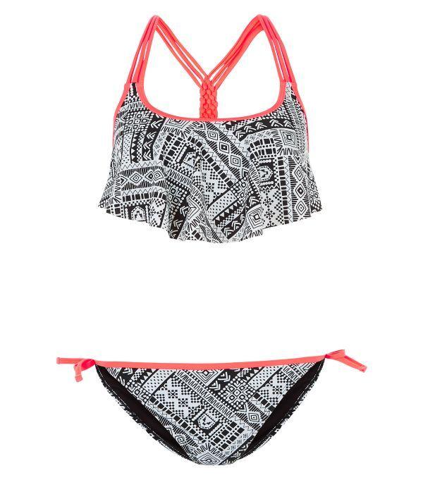Teens Black Abstract Print Flounce Bikini Set   New Look