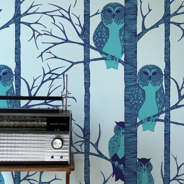 The Owls Wallpaper in Blueberry | www.wallpaperantics.com.au