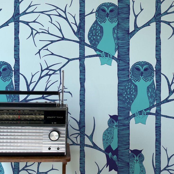 The Owls Wallpaper in Blueberry | www.wallpaperantics.com.au