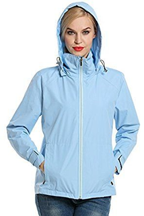 A ran jacket for women that is waterproof and fashionable.  The Meaneor Women's Outdoor Waterproof Jacket Solid Hooded Raincoat is lightweight, waterproof and is quick drying when you get caught in the rain.   This rain jacket features a hood, has long sleeves and a and zip-front closure. This jacket will come in handy for Outdoor Sports, Cycling, Running, Fishing, Travel and more. #RaincoatsForWomenHoods