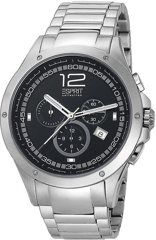 Esprit Collection -  Atropos Silver Black - EL101421F06 - Horloge - 45 mm - Zilver