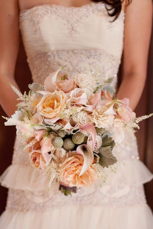 bouquets, calla lily, cream, garden rose, light grey, light pink, peach, peony, ranun, vintage , drop-waist, elegant, ruffles, sparkly, strapless, sweetheart, wedding dresses, white, shabby chic, Spring, bouquet, dress, dresses, flowers, gold, pink, rose, wedding, shabby, boquet, chic, wed, Burlingame, California