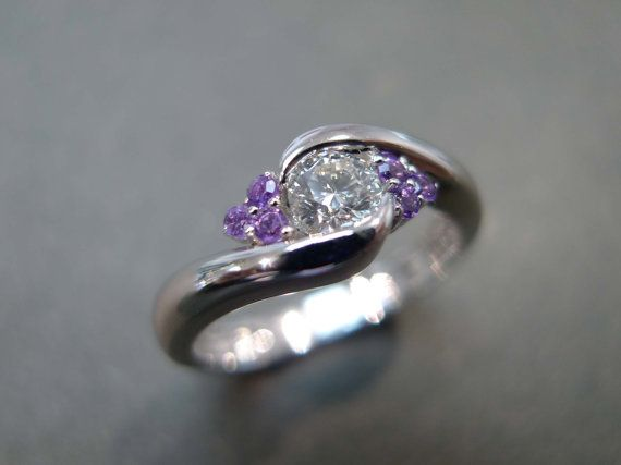 diamonds wedding ring with amethyst amethyst ring amethyst diamond ring amethyst diamond engagement ring diamond white gold - Purple Wedding Rings