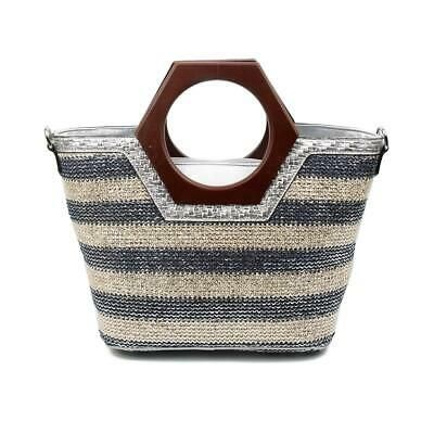 Photo of Details about Women Multicolor Metallic Shopper Bag Braided Effect Shoulder Bag Handle