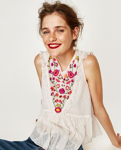 Image 2 of EMBROIDERED DOTTED MESH TOP from Zara
