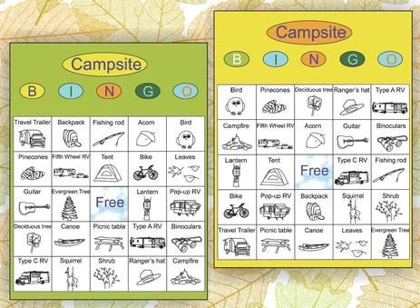 Free Printable Campsite Bingo Game Download And Let The Fun Begin Camping Featuring