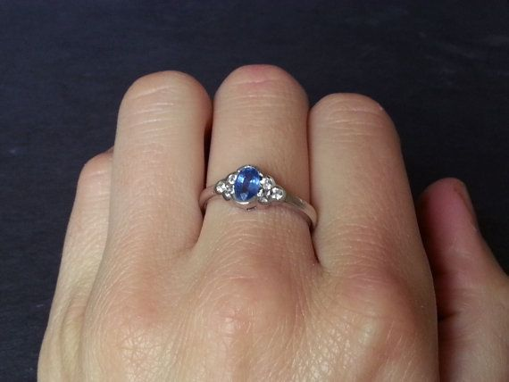 Vintage Sapphire Engagement Ring Diamond Ring by ArahJames on Etsy