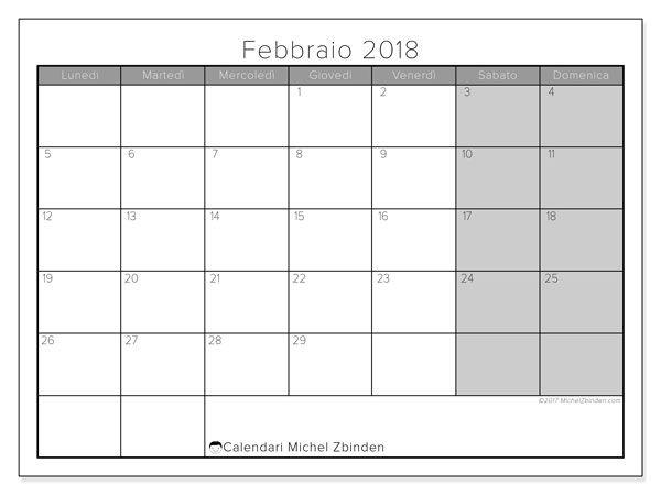 Calendari da stampare gratis febbraio 2018, 54LD. Calendario mensile.