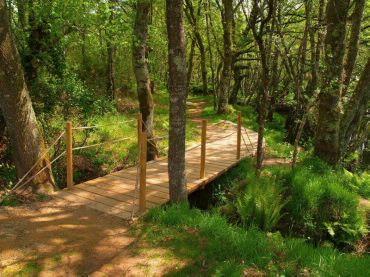 PR-G99 Rota da Auga de GuitirizLa Ruta del Agua de Guitiriz es un recorrido sin desniveles que, a la orilla de los ríos Parga y Ladroil, recorre el verde camino que se extiende desde el puente de Santo Alberto hasta el robledal de Pardiñas.