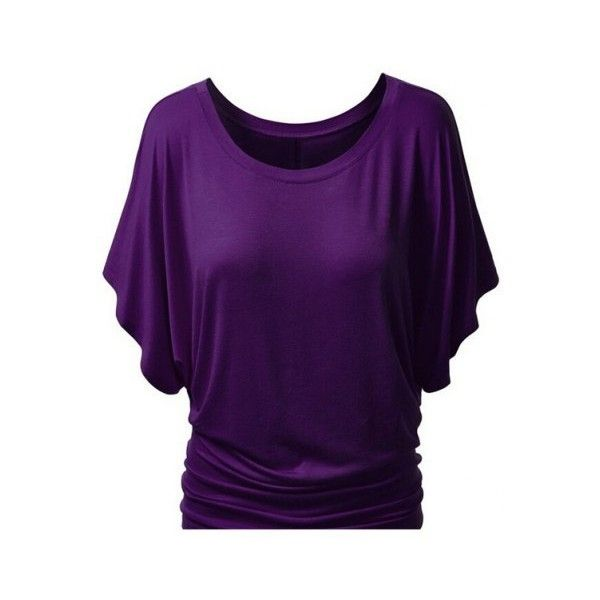 Simple Style Women's Bat Sleeve Jewel Neck Pure Color T-Shirt (13 AUD) ❤ liked on Polyvore featuring tops, t-shirts, bat sleeve tops, purple t shirt, jewel neck top, purple tee and batwing sleeve tops