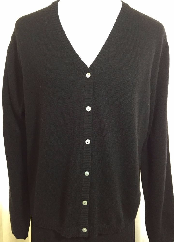 100% 2 Ply Cashmere Lord & Taylor Cardigan Knit Sweater Black Large MOP Buttons #LordTaylor #VNeck