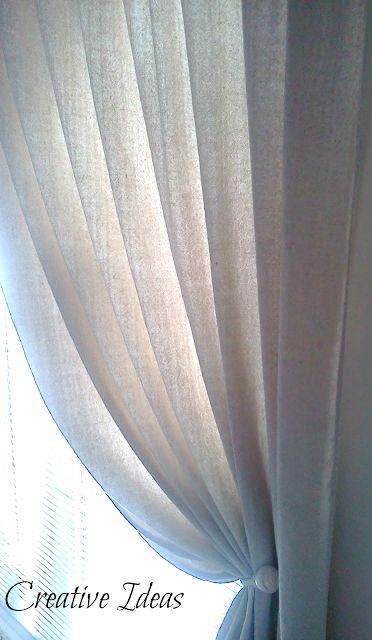 Wash drop cloth in bleach twice Creative Ideas: Pole Top Draperies From A Drop Cloth