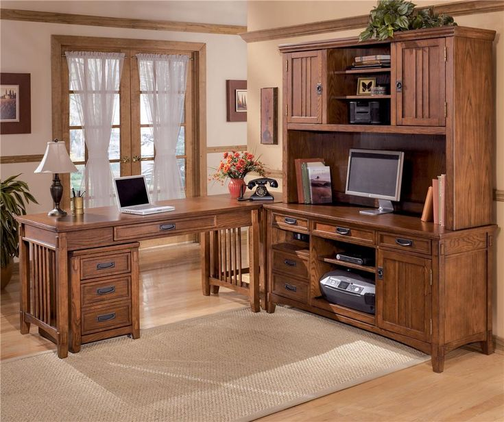 Ashley Furniture Cross Island 5 Piece L Shape Desk Unit With Hutch And 2  Drawer File Cabinet   Becker Furniture World   L Shape Desk Twin Cities, ...