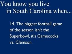 You know you live in SC when the biggest football game of the season isn't the Superbowl, it's Gamecocks VS. Clemson!