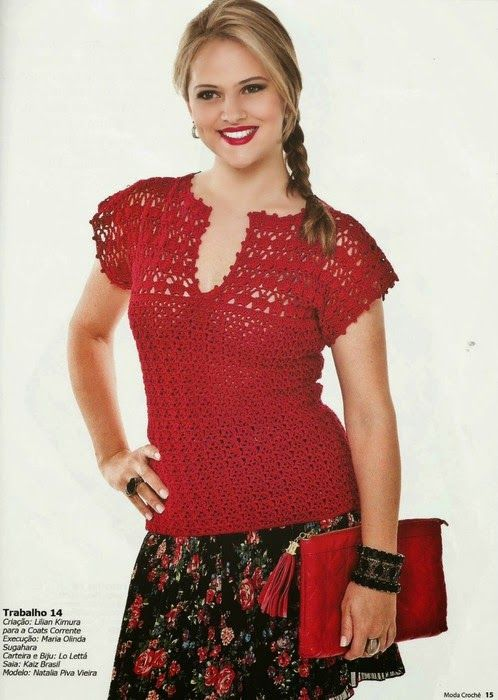 Crochetemoda: Blusa Vermelha de Crochet ~ Diagrams/Charts ~ Not in English