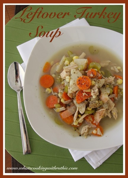 Leftover Turkey Soup is a delicious crock-pot soup that's a quick and easy way to use up leftover turkey! by whatscookingwithruthie.com #recipes #soup #turkey