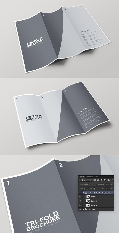 Tri Fold Brochure Mockup Template Pamphlet Design Brochure Design Freebie