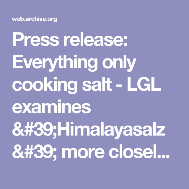 Press release: Everything only cooking salt - LGL examines 'Himalayasalz' more closely - Internet offer Bayerisches Landesamt für Gesundheit und Lebensmittelsicherheit