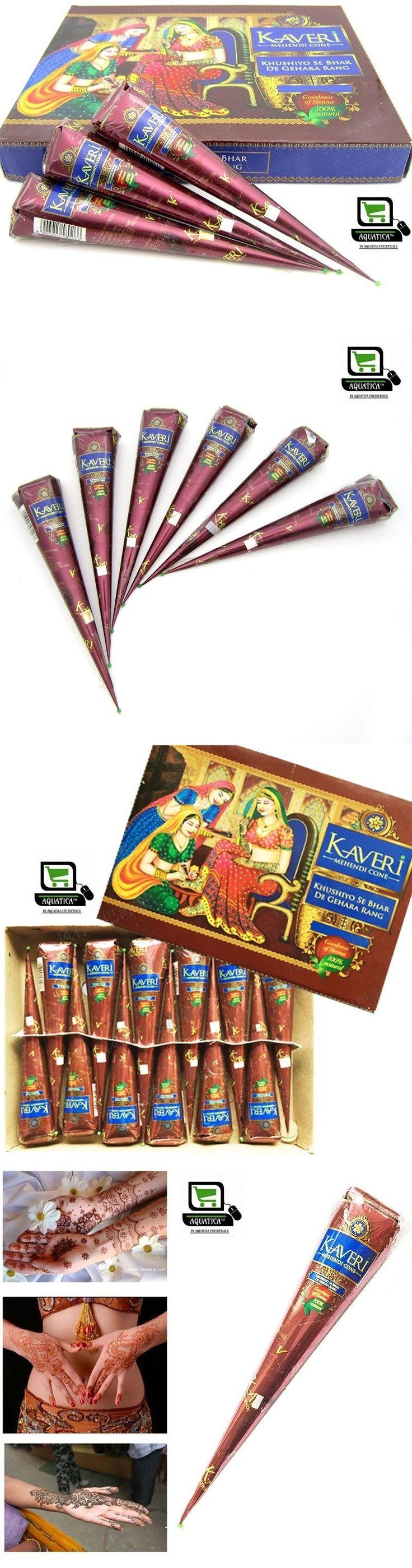 Henna Paste and Powder: 12 X Fresh Quality Kaveri Natural Henna Mehndi Tattoo Pen Cone Darkest Brown BUY IT NOW ONLY: $37.95