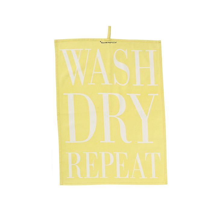 Discover the Bloomingville Wash/Dry/Repeat Tea Towel - Yellow at Amara