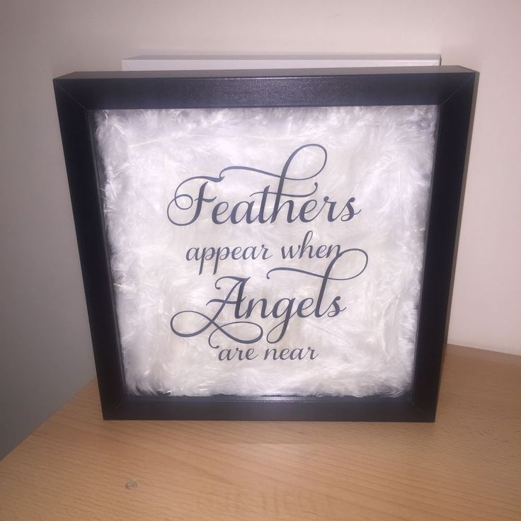Handmade  feathers Appear When Angels Are Near  Deep Box Frame With Feathers