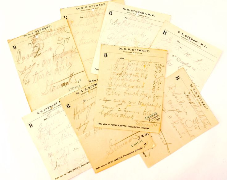 Vintage / Antique Handwritten Medical Prescriptions, Set of 8 (c.1901-02) N1