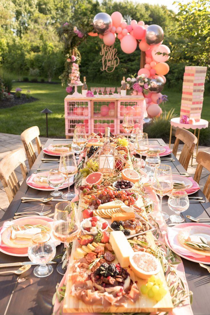 Rosé-Dinner-Party im Freien –  #dinner #freien #party #RoséDinnerParty – Abendessen Ideen