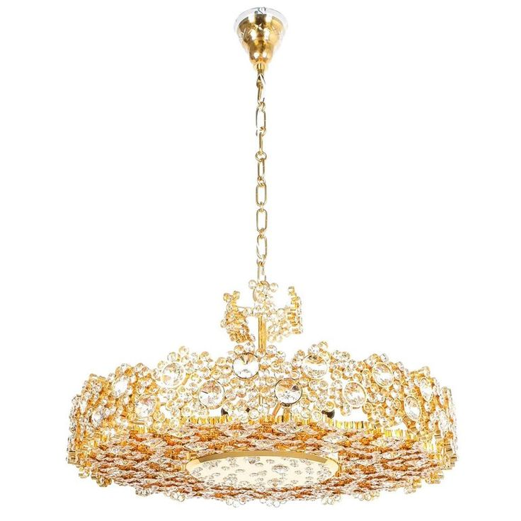 Palwa Crystal Glass Gold Brass Chandelier Refurbished Lamp, 1960 by Derive | From a unique collection of antique and modern chandeliers and pendants at https://www.1stdibs.com/furniture/lighting/chandeliers-pendant-lights/