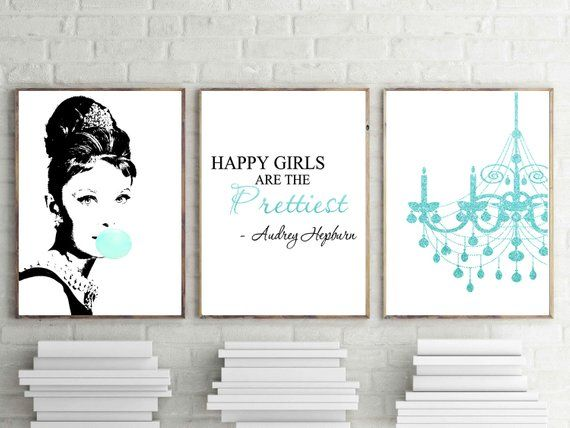 Audrey Hep Breakfast At Tiff Digital Download Print Chandelier Wall Decor Set Of 3 Wall Art Bubble Gum Happy Girls Teal Poster In 2020 Pink Wall Art Breakfast At Tiffany S Poster Peony Print