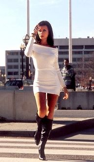Mini sweater dress with boots. Great Winter look.