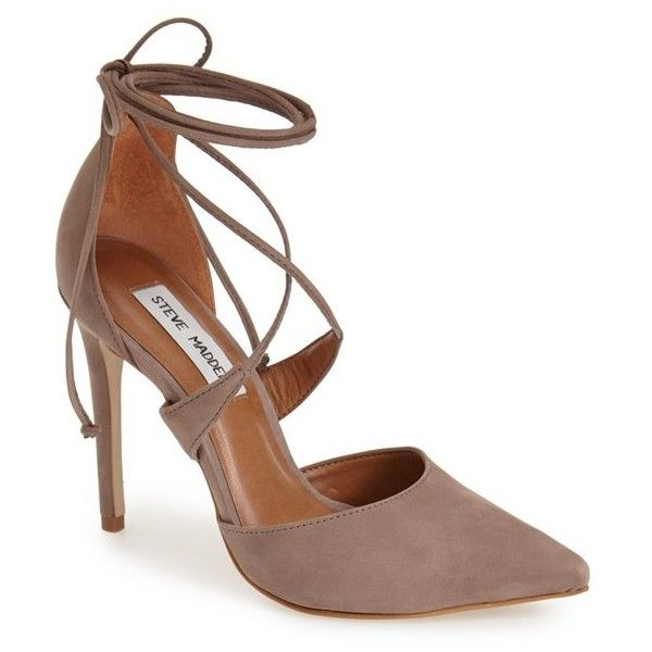 """Steve Madden 'Raela' Pump, 4"""" heel (£71) ❤ liked on Polyvore featuring shoes, pumps, taupe nubuck, pointed-toe pumps, pointed toe high heel pumps, pointy toe stiletto pumps, high heels stilettos and steve madden pumps"""