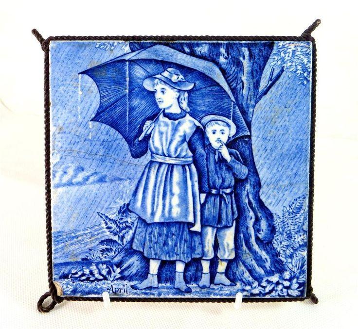 "Charming old tile: 19thC Victorian Wedgwood Blue/White Underglaze 6"" Months Tile April Trivet 1880 - ebay £9.95"