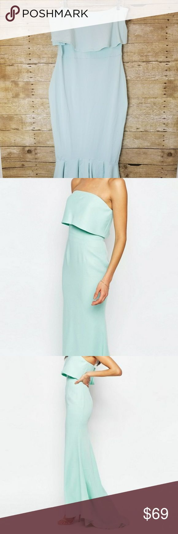 ASOS Jarlo Mermaid Gown Mint NWT Asos Jarlo Ball Gown. U.S. size 12 tall. Beautiful mint green strapless top, with long mermaid tail skirt. Gorgeous light weight fabric. Perfect for a ball gown, prom, holiday or bridesmaid dress.  Hips: 19 in flat Upper waist: 15 in flat Legnth: 48 in ASOS Dresses Maxi