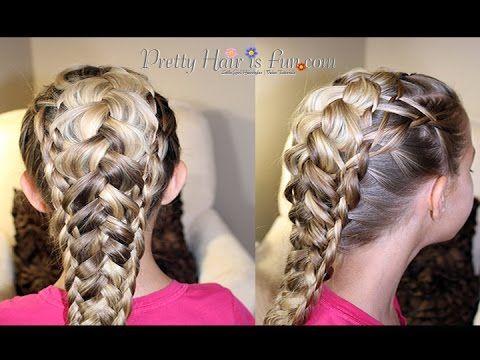 Girls' Hairstyles: Weaved Triple Dutch Braid; pulled braids; mermaid braids;  hair; braids; hairstyles; updos; wedding; prom; homecoming; girls hairstyles; easy hairstyles; dutch braids