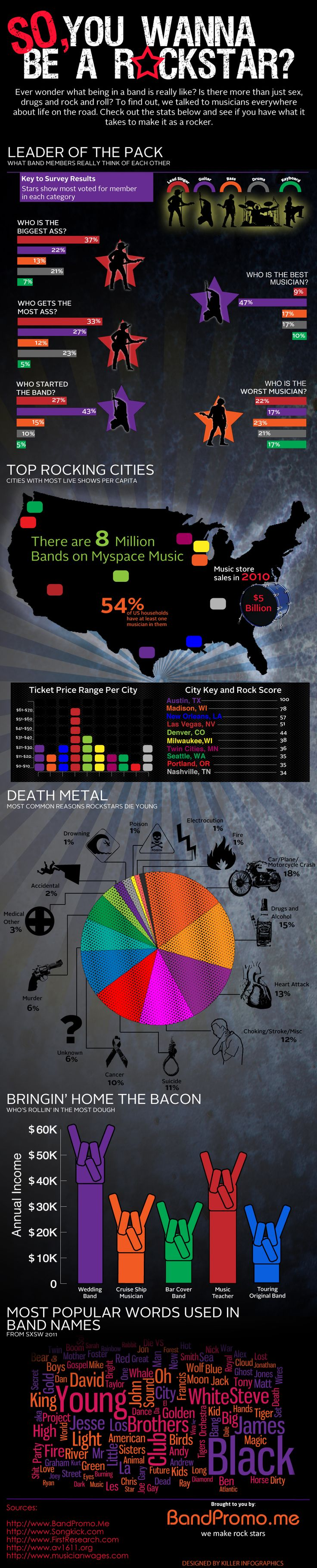 Rock musician infographic. so-you-wanna-be-a-rockstar-infographic-bandpromome