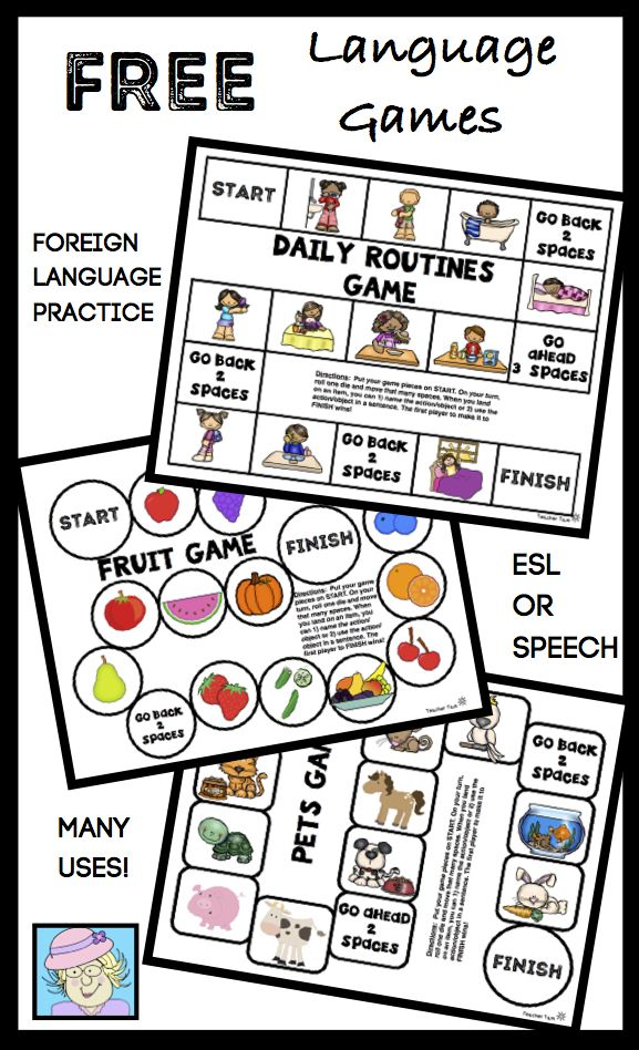 Language Board Games. Grab this set of 10 FREE, one-page language game boards! Just PRINT AND PLAY! Each game covers one of the following topics: fruits, vegetables, foods, school, pets, daily routines, landforms/places, buildings, hobbies, and body parts. Focus on: foreign language practice (Spanish, Mandarin, French, German), English language practice, speech and language skills, sentence formation, turn taking, and more!