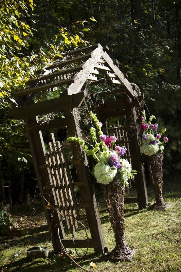 Love these floral arrangements and the containers...I could duplicate the containers and the flowers..hmmmm.....Smokey Mountain Rustic Wedding: Christen   David