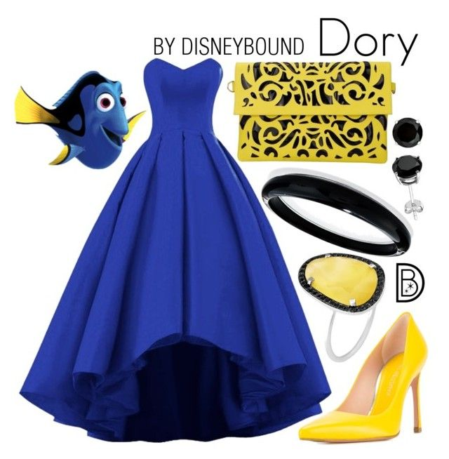 """Dory"" by leslieakay ❤ liked on Polyvore featuring Stuart Weitzman, Christina Debs, Alexis Bittar, Prom, disney, disneybound and disneycharacter"