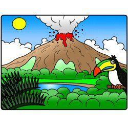 Cartoon volcano drawing