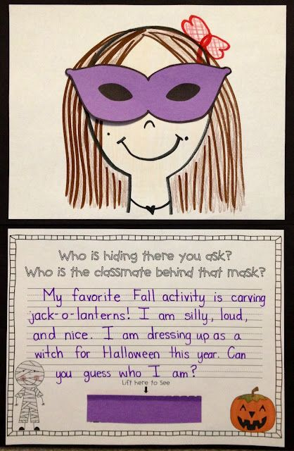 """Fun Halloween Riddle! """"Who is hiding there you ask? Who is the classmate behind that mask?"""
