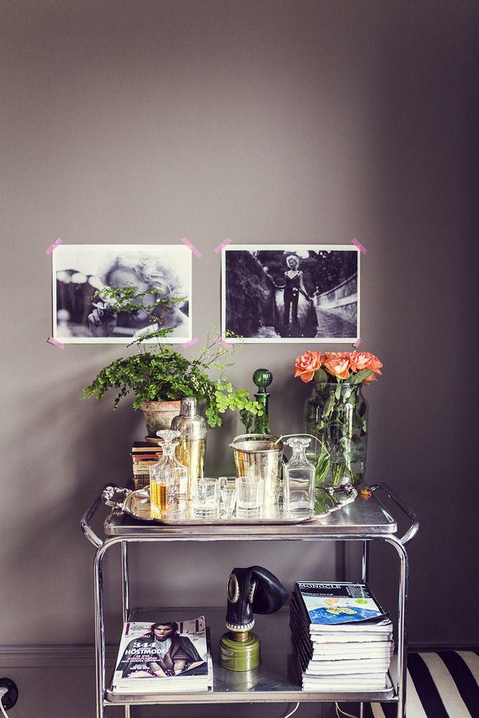 gray wall, washi tape, bar cart