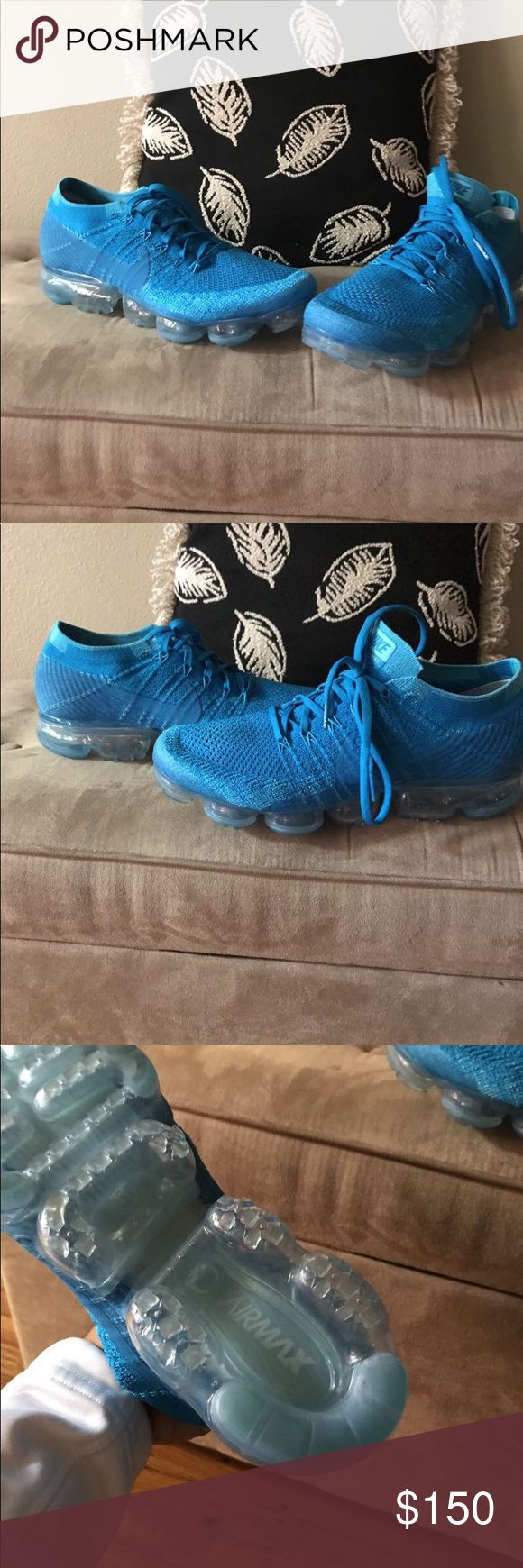 Nike vapor max orbit blue These are the Nike vapor max in the orbit blue colorway. These shoes really are like walking on a set of clouds !!! These shoes really are great for running and stylish enough for a night on the town. These shoes have been worn a few xs. They are in perfect shape and condition !!! They are 100 percent authentic and ready for a new home ... thanks for looking at my shoes. Please check out the rest of my shoes too , please and thank you!!! Nike Shoes Sneakers